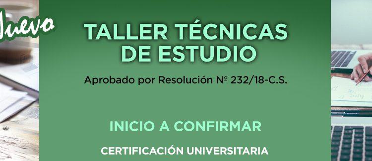 TALLER TÉCNICAS DE ESTUDIO